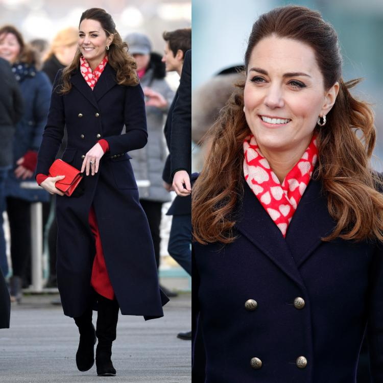 Kate Middleton in a red Zara dress and a navy coat is a sight for sore eyes: Yay or Nay?