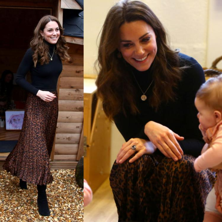 Kate Middleton experiments with prints in a leopard print skirt with gold necklace with her kids' initials