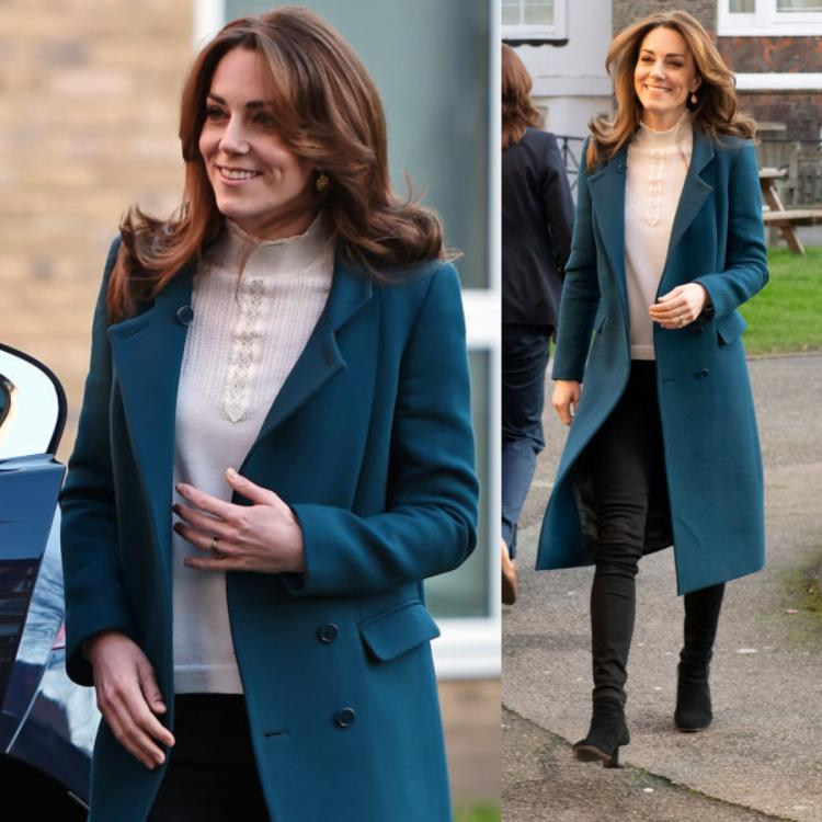 Kate Middleton glows in a chic teal blue coat making it the ideal outfit to bundle up this winter