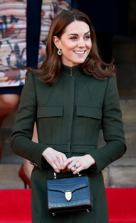 Kate Middleton styles her Zara dress with a mossy green coat by Alexander McQueen & we are all for it