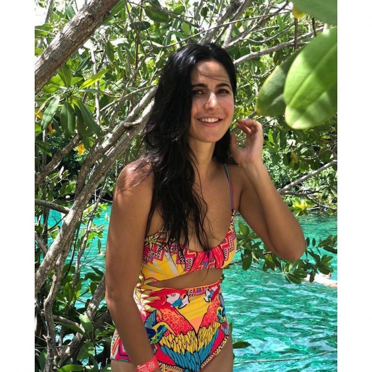 Image result for Bollywood actress Katrina Kaif looks like wearing a multi-colored bikini in Mexico