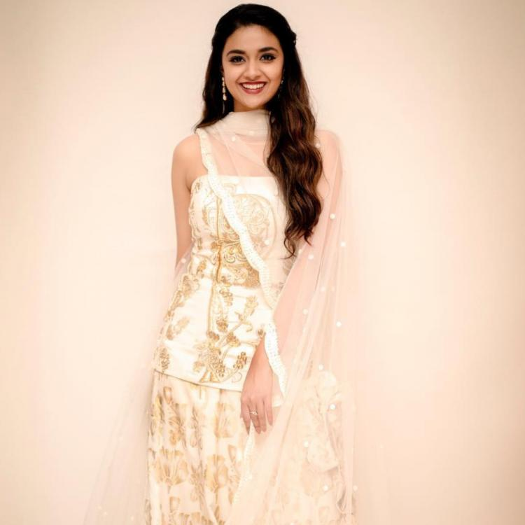 Keerthy Suresh goes from girl next door to ultimate glam queen in a gold and ivory lehenga by House of Masaba