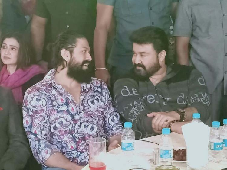 KGF 2 star Yash and Mohanlal's candid photos from an event go viral