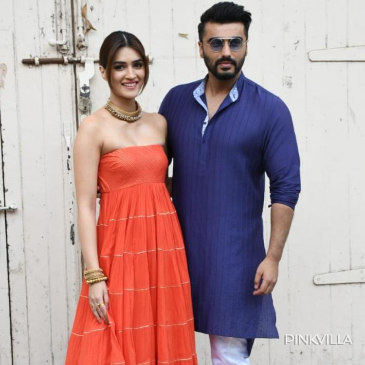 PHOTOS: Kriti Sanon makes for a perfect diva; Arjun Kapoor goes desi as they head out for Panipat promotions
