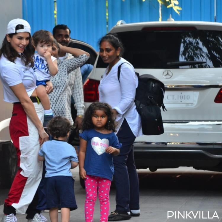 PHOTOS: Sunny Leone spotted with kids Nisha, Noah and Asher at their playschool