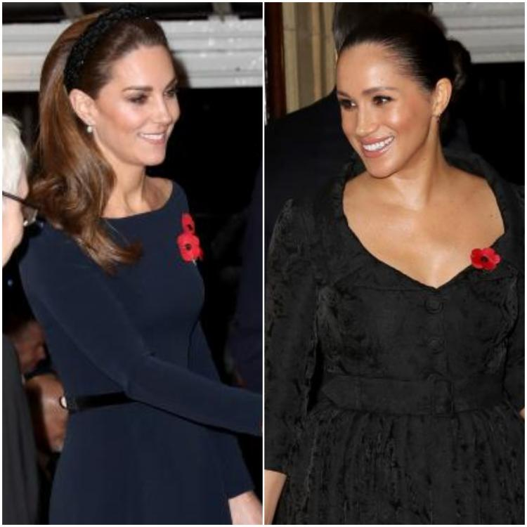 Kate Middleton & Meghan Markle pick a dark & moody palette for their reunion at the Festival of Remembrance