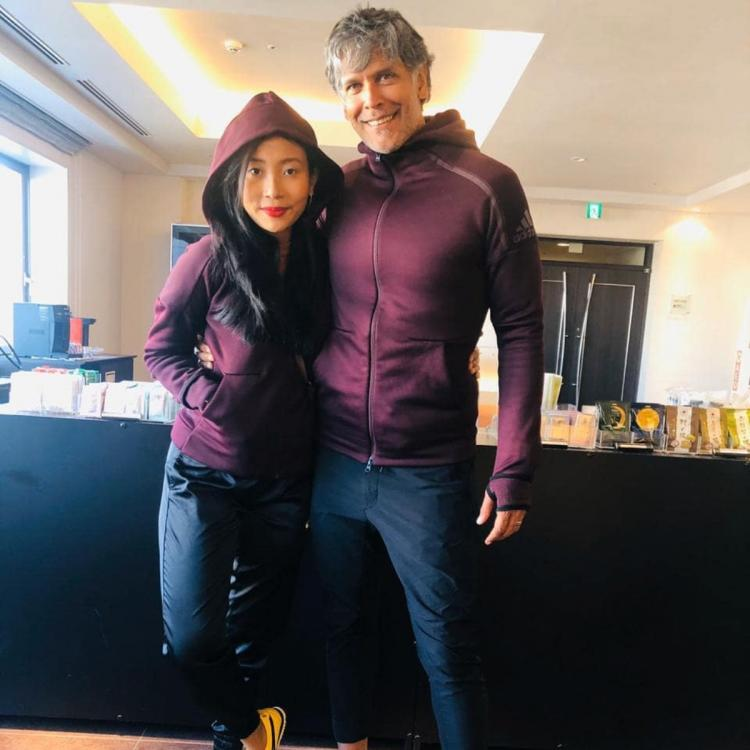 Milind Soman twins with wife Ankita Konwar giving us major couple goals; See pic