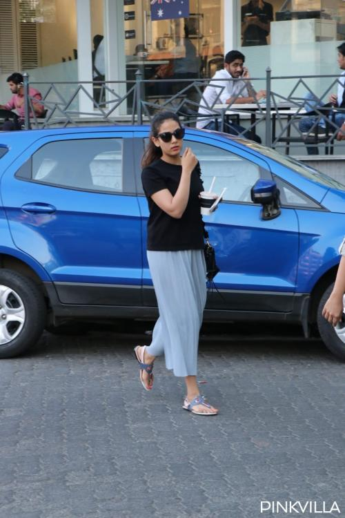Mira Rajput was clicked outside a coffee shop in Mumbai today