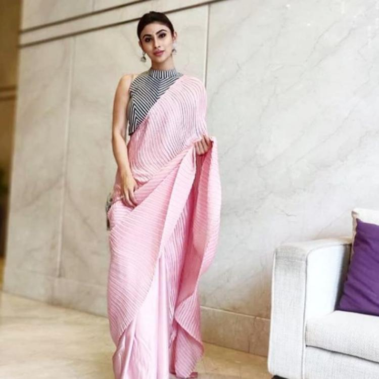 Mouni Roy looks gorgeous in a saree as she strikes a pose for the camera; View PIC