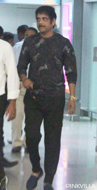 Photos: Nagarjuna Akkineni spotted at Hyderabad airport as he returns from Switzerland post Manmadhudu 2 shoot