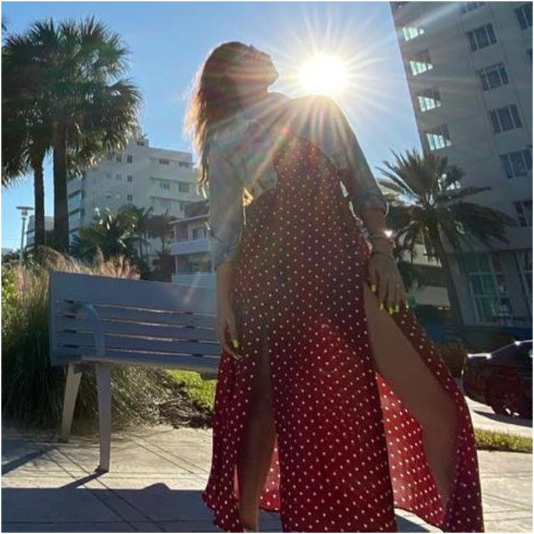 Nayanthara looks exquisite in slit cut polka dot dress in latest sun kissed photo clicked by Vignesh Shivan