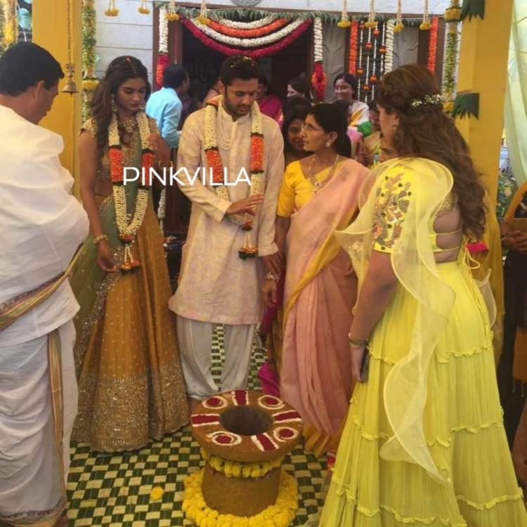 Nithiin and Shalini's engagement photos: The couple looks adorable as they exchange rings