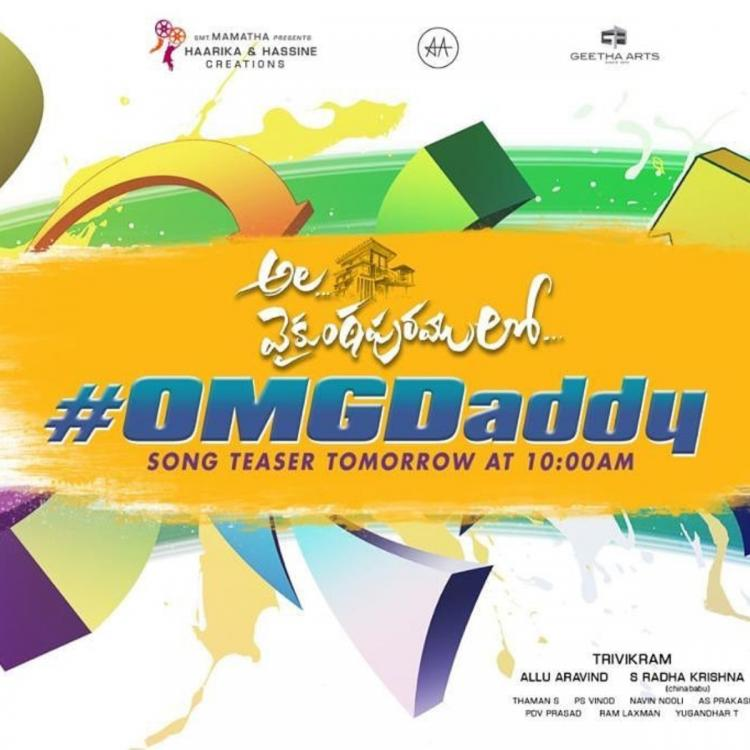Ala Vaikunthapurramuloo: Allu Arjun starrer to release the teaser of 'OMG Daddy' today; Read details