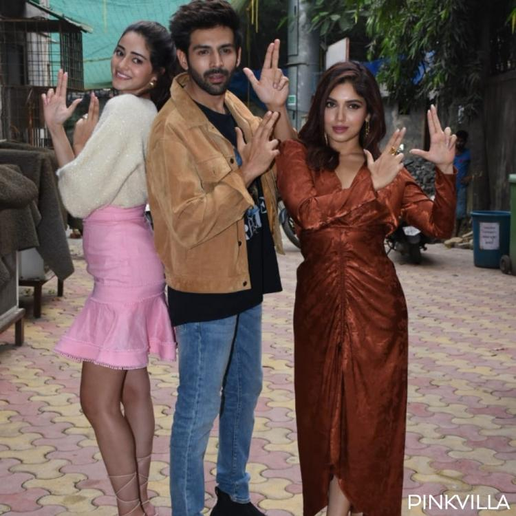 PHOTOS: Pati, Patni Aur Woh's Kartik Aaryan, Ananya Panday & Bhumi Pednekar step out together for promotions