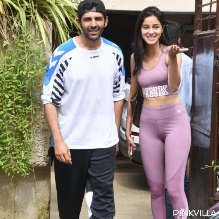 PHOTOS: Pati Patni Aur Woh's Ananya Panday & Kartik Aaryan pose for the shutterbugs post dance rehearsals