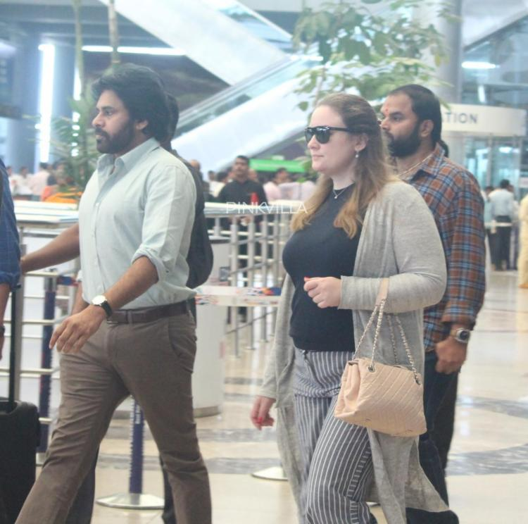 PHOTOS: Pawan Kalyan spotted with wife Anna Lezhneva at the airport