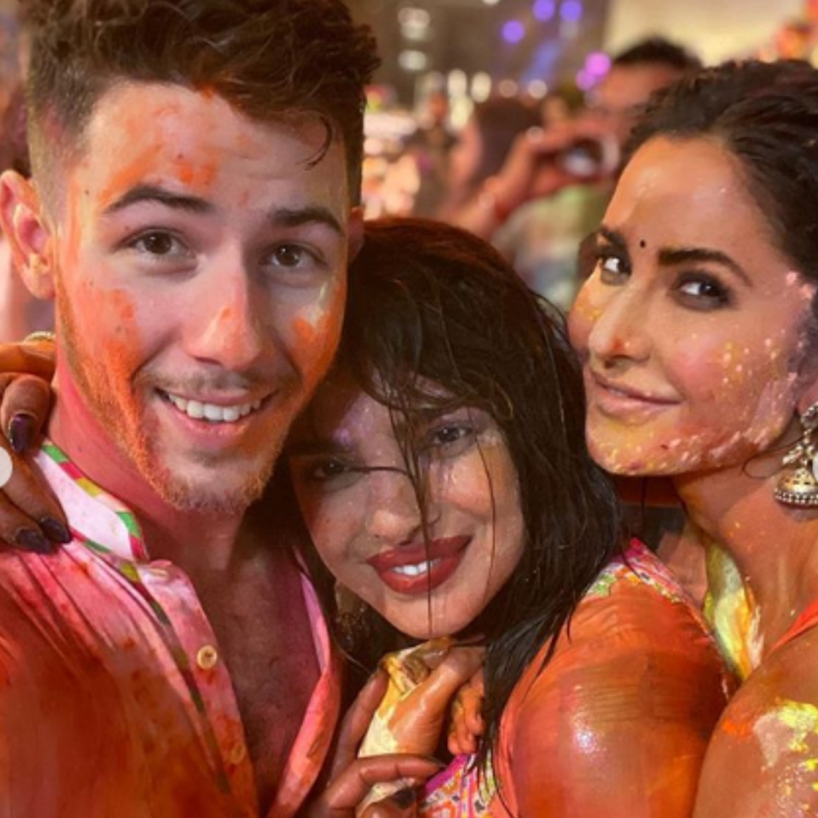 Katrina Kaif poses for a colourful photo with Priyanka Chopra and Nick Jonas and we are all hearts