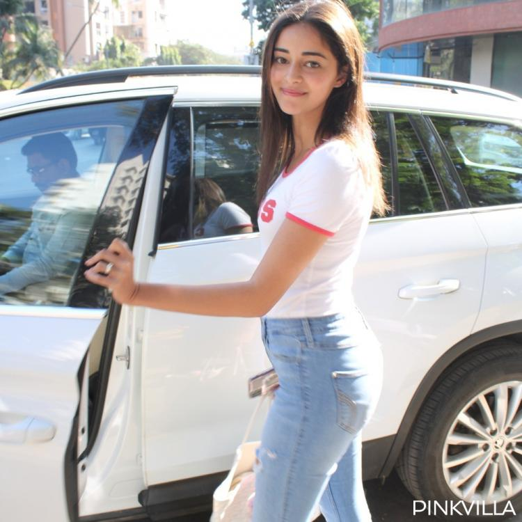 Ananya Panday looks pretty sans make up in ripped jeans and white tee as she exits a salon; See Pics