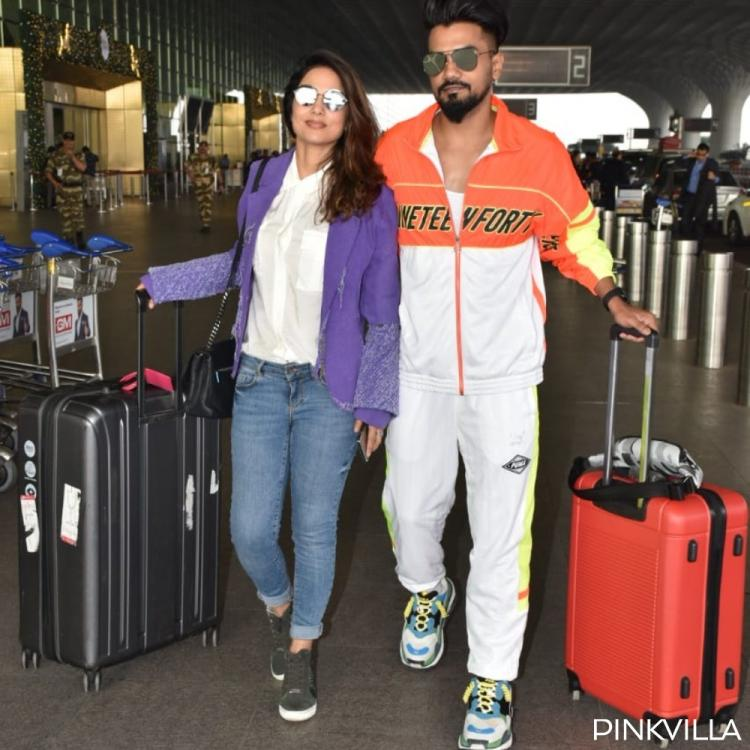PHOTOS: Hina Khan & beau Rocky Jaiswal make for a stylish duo in cool shades as they arrive at the airport