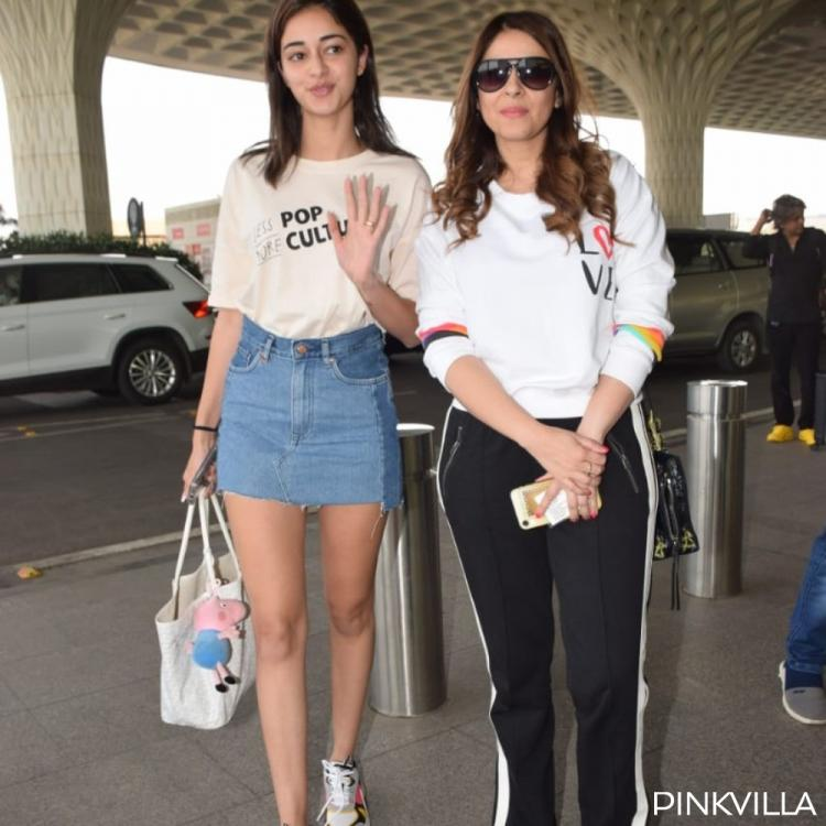 Filmfare 2020: Ananya Panday opts for a classic white tee & denim skirt as she leaves with mom for Assam