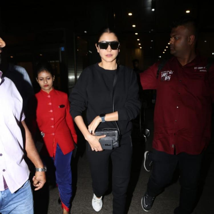 Anushka Sharma ups her fashion game with an all black look when snapped at the airport; See Pics
