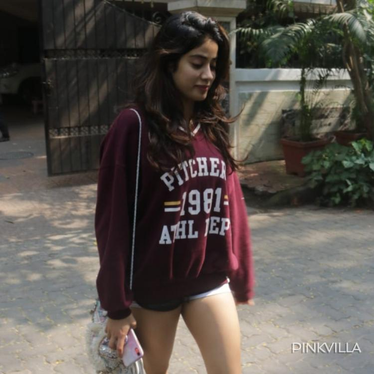 PHOTOS: Janhvi Kapoor keeps it cool & casual as she heads out in the city sporting a maroon sweatshirt