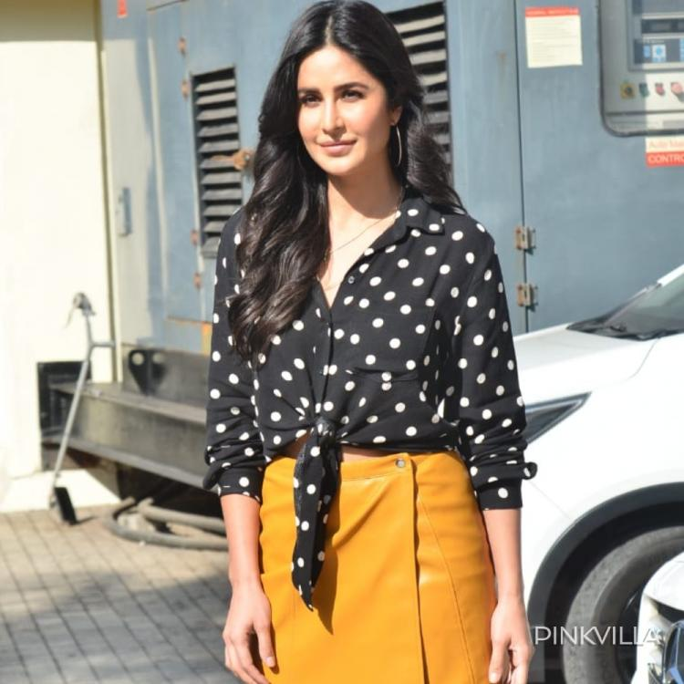PHOTOS: Katrina Kaif looks pretty as peach as she matches a black polka dot top with ochre yellow skirt