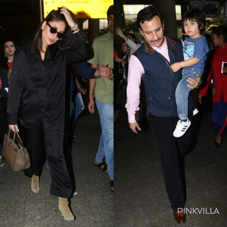 PICS: Kareena Kapoor Khan stuns in black outfit; Saif Ali Khan takes charge of Taimur Ali Khan at the airport