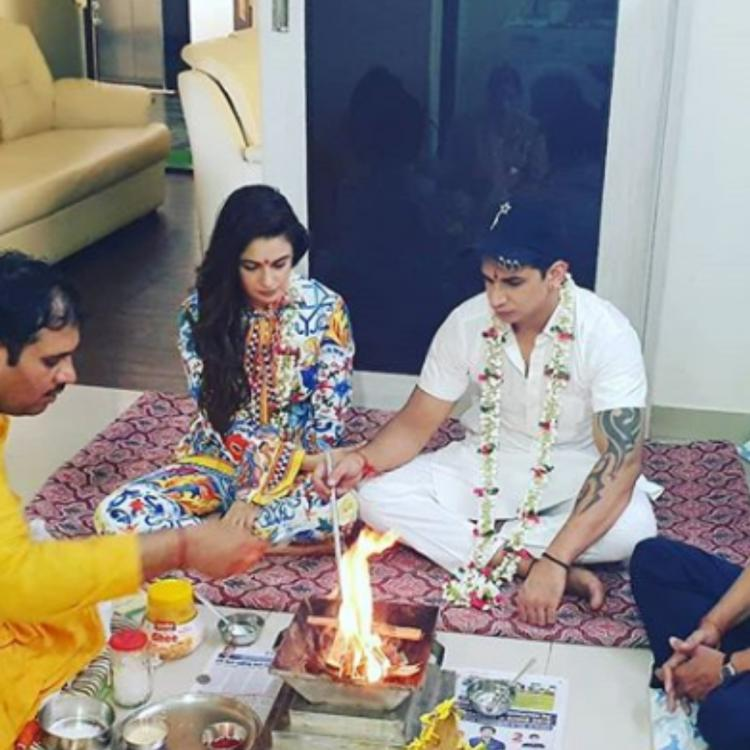 Prince Narula and Yuvika Chaudhary have a small pooja ahead of their first wedding anniversary; View PICS