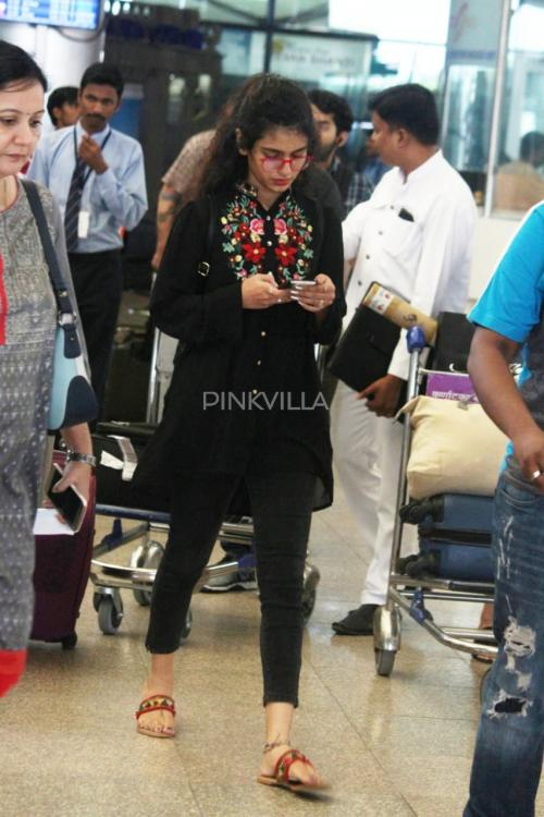 PHOTOS: Wink girl Priya Prakash Varrier dons a black on black look as she gets papped at the airport