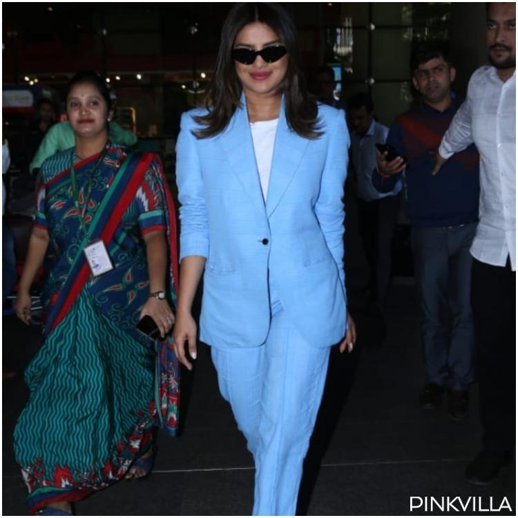 Priyanka Chopra Jonas owns the airport look like a boss in breezy blue pantsuit and we can't stop staring