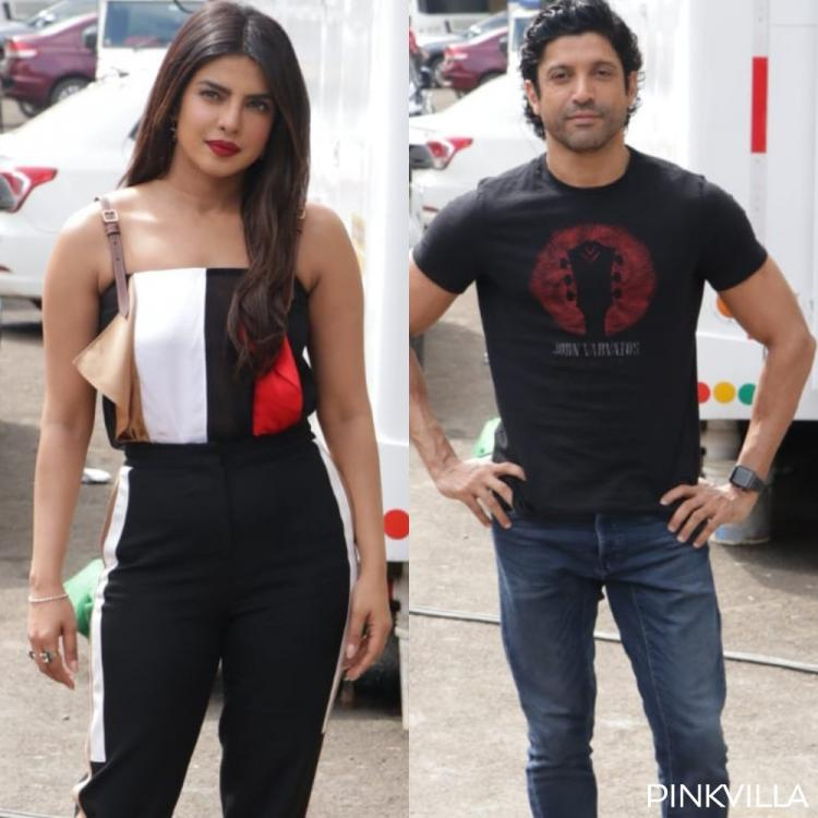 PHOTOS: Priyanka Chopra dons chic black outfit & Farhan Akhtar sports cool look for The Sky Is Pink promotion