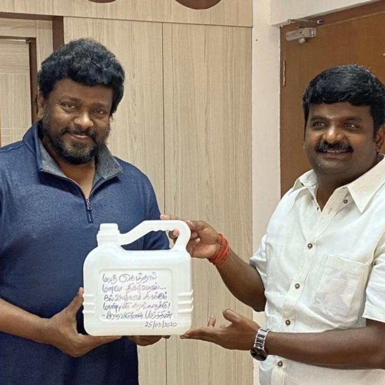 Radhakrishnan Parthiban meets Tamil Nadu Health Minister; Gives him can of hand sanitizer instead of bouquet