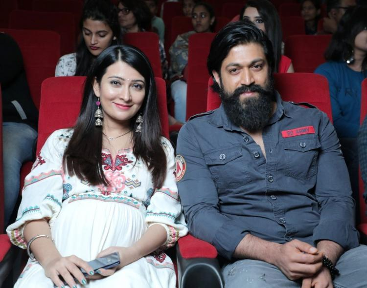 Radhika Pandit flaunts her baby bump as she attends trailer launch of Aadi Lakshmi Puraana with Yash