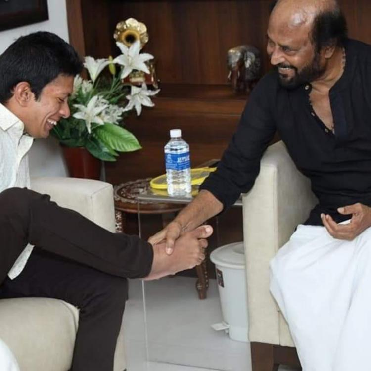 PHOTOS: Rajinikanth touching a differently abled fan's feet is winning the Internet; Check it out