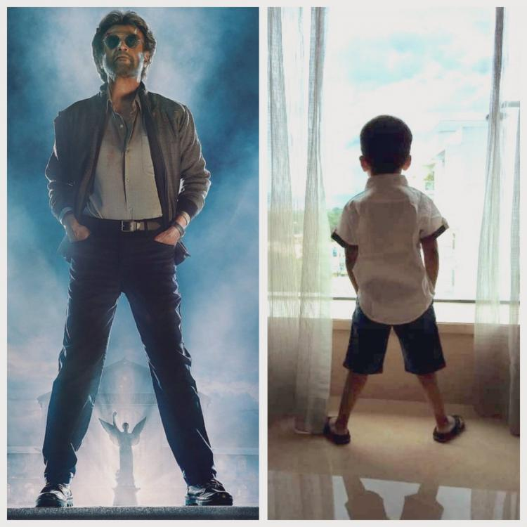 Rajinikanth's grandson Ved imitates Thalaiva's pose from Petta & it is the cutest thing you'll see on the net