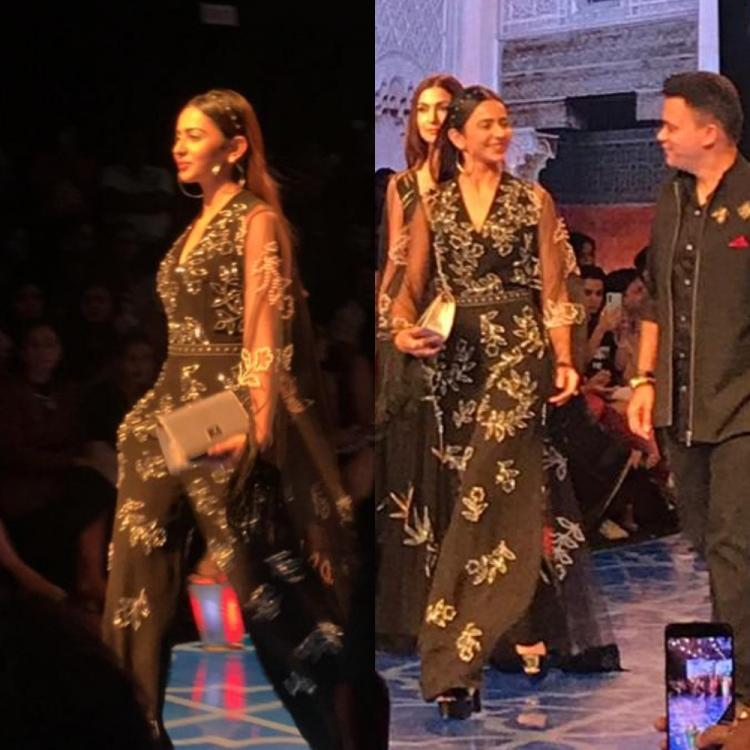 Glittering in a black ensemble, the actress turned showstopper for designer Nachiket Barve.