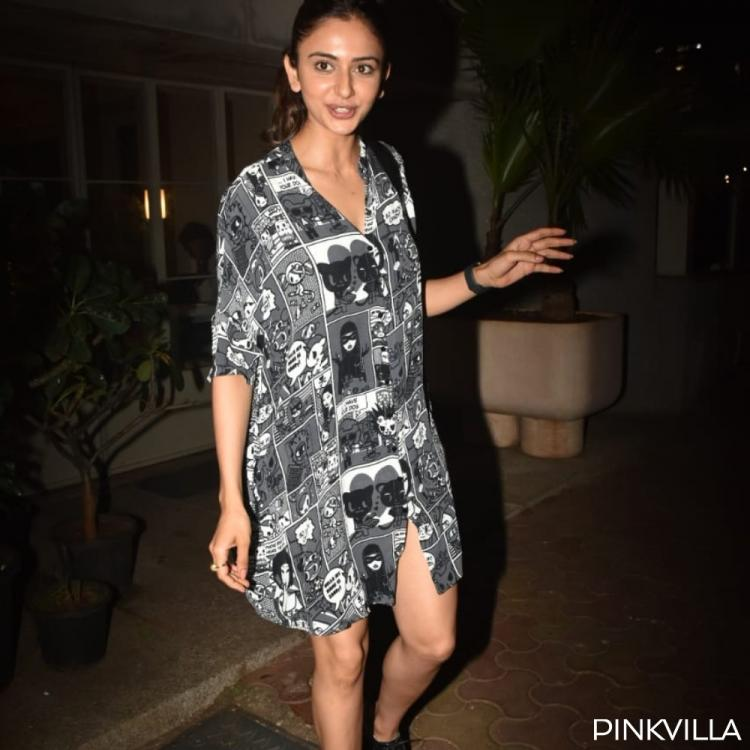 Rakul Preet Singh steps out of a restaurant but it's her comic print dress that has our attention; View Pics