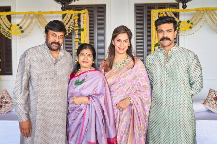 Ram Charan shares a priceless moment with wife Upasana and parents Chiranjeevi and Surekha; See Pic