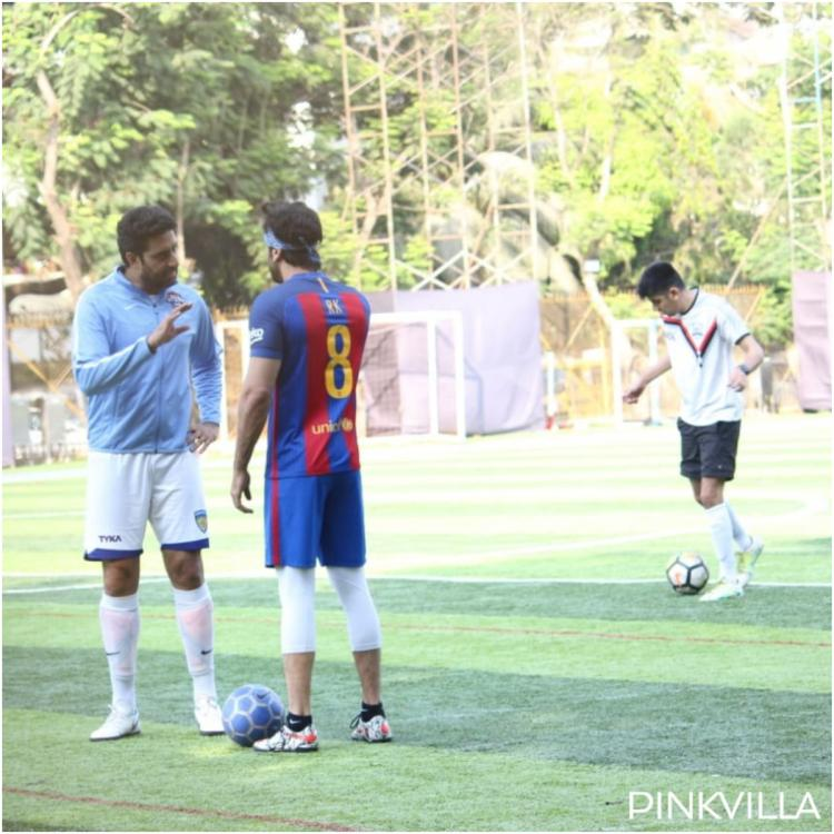 Photos: Ranbir Kapoor and Abhishek Bachchan indulge in a serious conversation on the football field