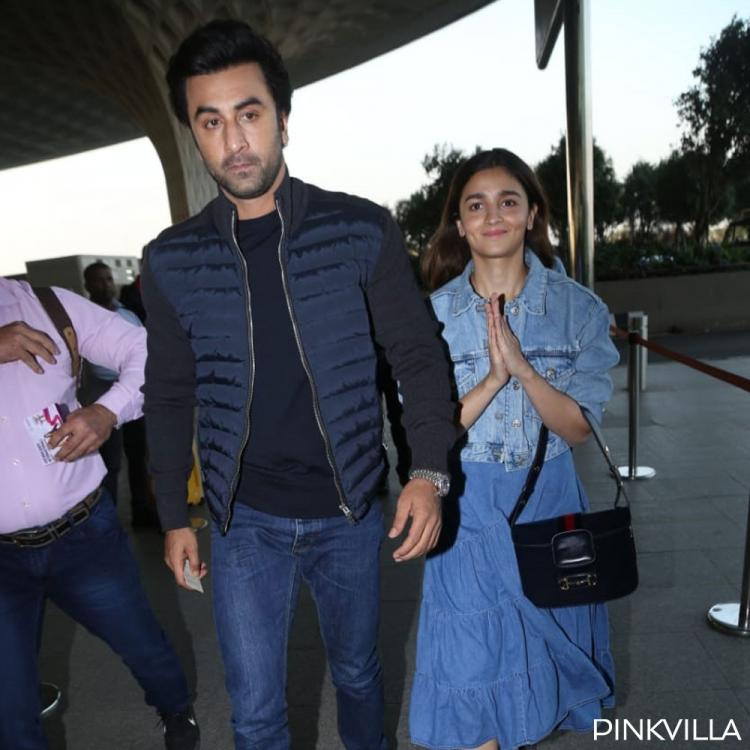 Brahmastra duo Ranbir Kapoor & Alia Bhatt twin in hues of blue as they jet off from Mumbai airport; See PHOTOS