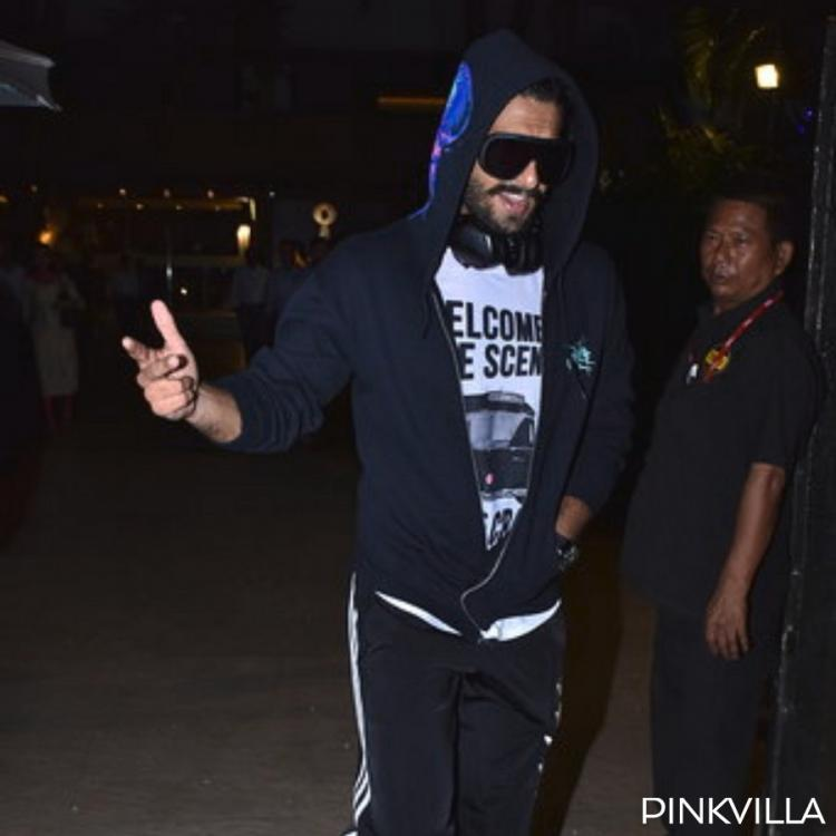 PHOTOS: Ranveer Singh adds a pop of colour to his all black outfit with a pair of pink shoes