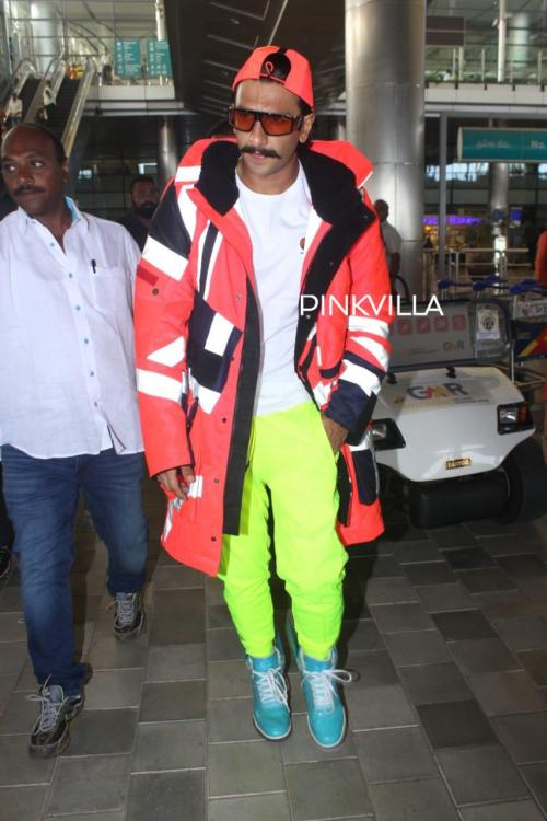 PHOTOS: Ranveer Singh stuns in neon as he gets papped at Hyderabad airport for Sooryavanshi's climax shoot