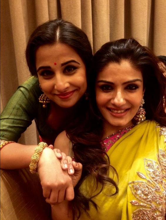 Vidya Balan And Raveena Tandon At Rriddhi Malhotra S
