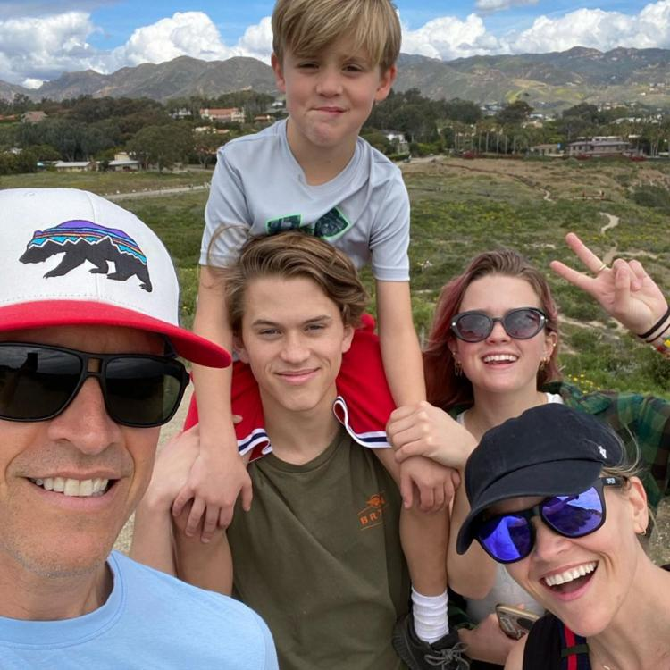 Reese Witherspoon shares an adorable family picture and reveals she spent her birthday hiking with family