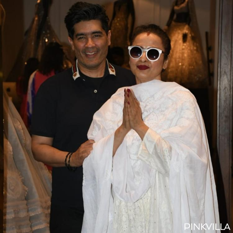 PHOTOS: Rekha looks evergreen as usual in a white salwar suit as she visits Manish Malhotra