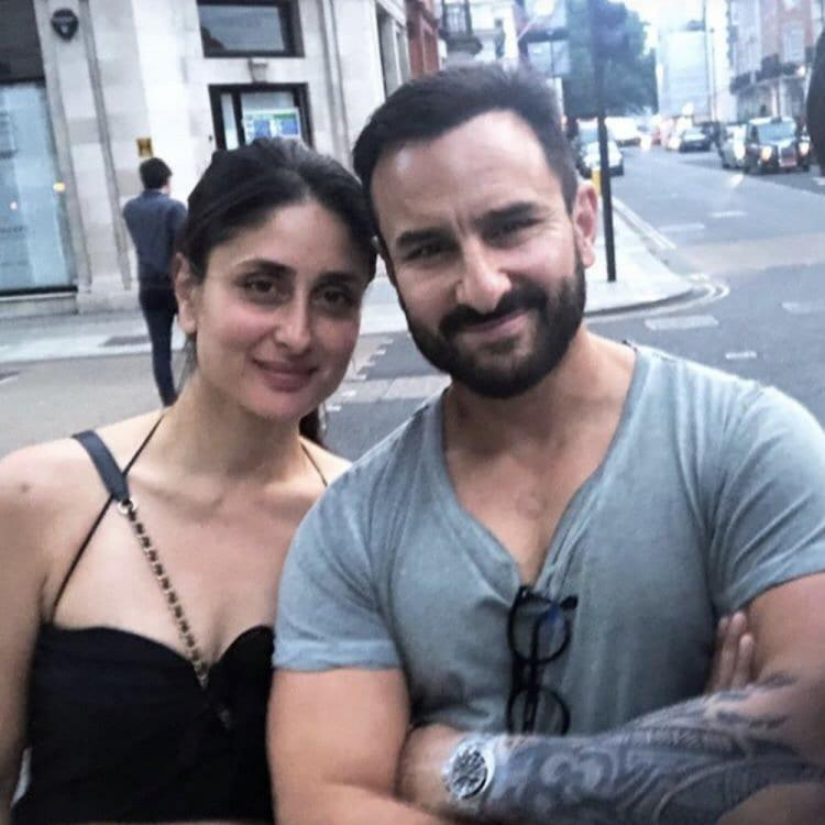 Kareena Kapoor Khan is all smiles as she poses with Saif Ali Khan but it's his tattoo that steals the show