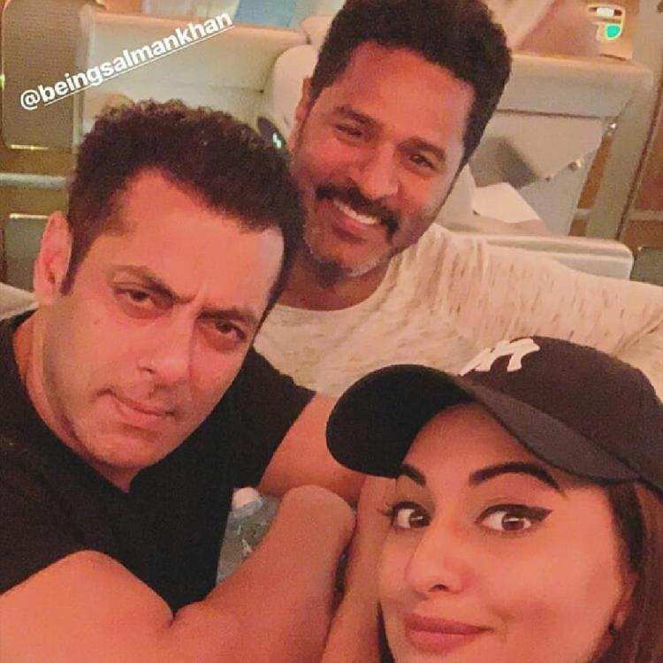 Salman Khan and Sonakshi Sinha pose for an adorable selfie with Prabhu Deva ahead of the Dabangg tour