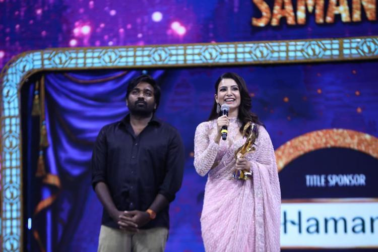 Samantha Akkineni expresses her happiness as she received an award from Super Deluxe co star Vijay Sethupathi