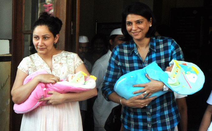 Sanjay & Maanayata Dutt spotted with their new twins